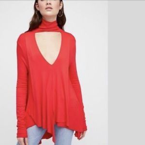 Free People Uptown turtleneck tunic red NWT S